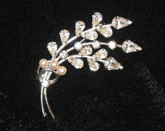 Rhinestone and Pearl floral bouquet sterling silver Cal Art Brooch