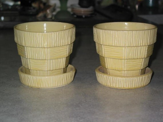 2 mid century McCoy Pottery basketweave textured small yellow flower pots with attached saucers