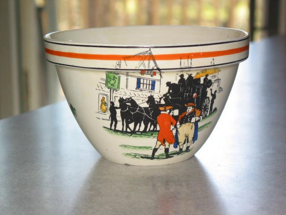 Macy's vintage Colonial scene mixing Bowl Made in England ship mark orange stripe
