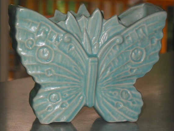 McCoy Pottery aqua matte turquoise Butterfly form planter Vase