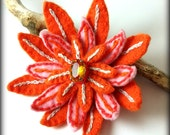 free shipping worldwide - VISION - vintage 1940s gem, hand embroidered felt brooch