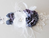 Blue Peony BELT SASH  flower feathers lace crystal pearls