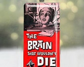 The Brain that Wouldn't Die horror movie poster pendant on upcycled domino