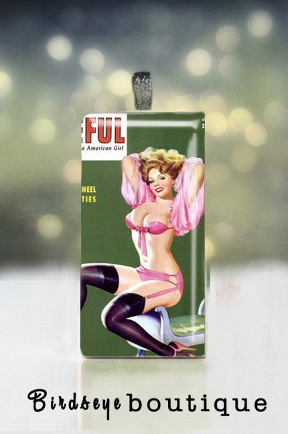Sexy Pink and Lacie pin up poster on upcycled domino -Pin Up Art - Pin Up Pendant - Pin Up Necklace - Pin Up Jewelry