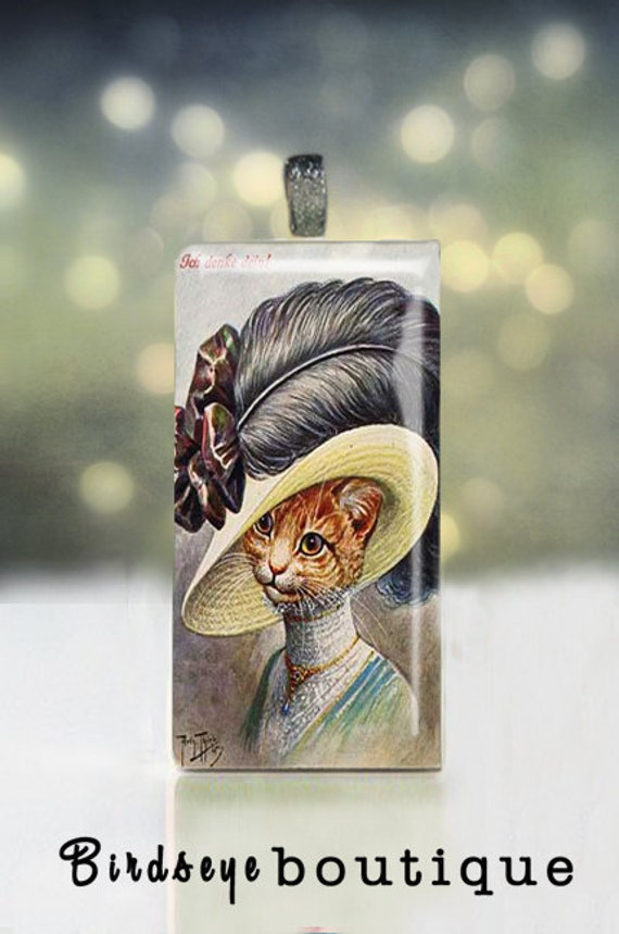 Vintage Sophisticated lady cat pendant on upcycled domino - Cat Pendant - Cat Necklace - Cat Jewelry - Cat Charm