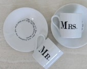 Hand painted porcelain custom monogrammed personalized demitasse espresso cups and saucers set of 2