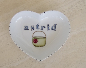 Hand painted porcelain custom personalized heart shaped tray for jewelry or bed and bath