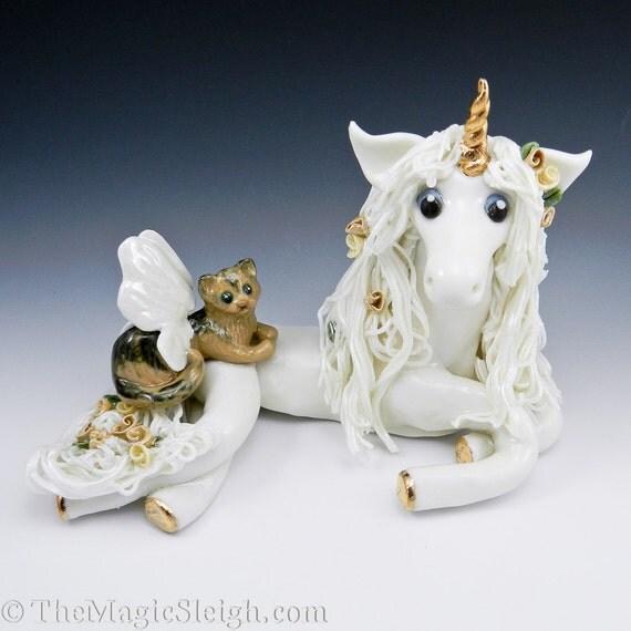 Unicorn with Fairy Cat Porcelain Sculpture