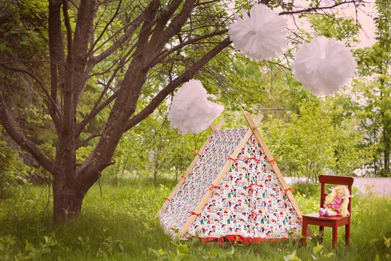 NOW ON SALE-----Children's A-Frame Ruffle Tent cover by Teepee and Tent