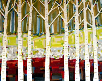 Tree Song no. 8 Birches (40x30), original painting on canvas by Kristi Taylor