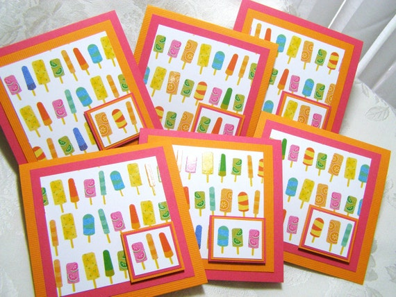 Summer Popsicle Notecards Set of 6