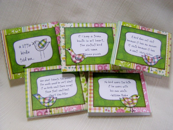 Birdie Quote Mini Notecards (Set of 5)