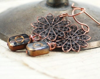 Metallic Empire Earrings, Antiqued Copper and Glass