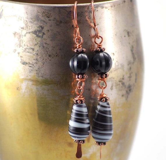 Storm Watch Earrings, Glass and Copper