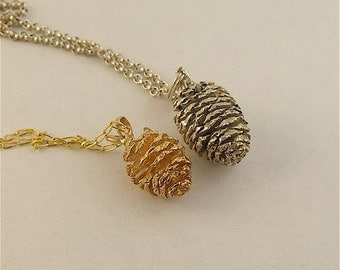 Sterling Silver Alder Cone Pendant or charm from the Pacific North West Collection