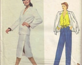 Pleated Pants and Blouse Designer Kasper Pantsuit Jacket Vintage 1980s Sewing Pattern Size 10 Bust 32.5 Inch Vogue 2143