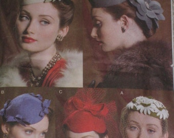 Millinary Hats Pillbox Face netting Sewing Pattern Vintage Styled Retro 1940s 1950s Vogue 8008 WW2 Misses Womans