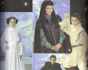 Childs Star Wars Luke Skywalker, Leia Darth Vader Halloween Costume Simplicity 4426 0578 Sewing Pattern Children Size S M L 7 8 10 12 14