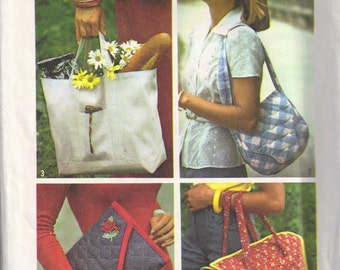 Grocery Shopping Tote Bag, Purse, Quilted Clutch Simplicity 7004 Sewing Pattern Vintage 1970s Accessories Cut Complete