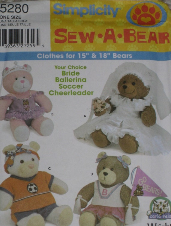 Bear Clothes for 15 and 18 inch Stuffed Bear Simplicity 5280 Sew-a-bear pattern