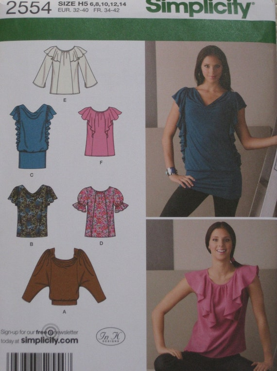 Stretch Knit Sewing Patterns : Ruffled Stretch Knit Top Sewing Pattern Simplicity 2554 Size 6