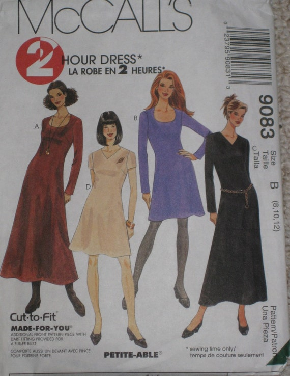 Scoop Neck A Line Dress Sewing Pattern McCalls 9083 Size 8, 10, 12