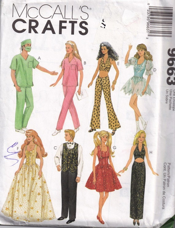 barbie ken doll clothes dress scrubs sewing pattern mccalls
