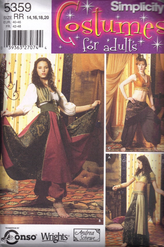 Exotic Harem Belly Dancer Costume Simplicity 5359 Misses Sewing Pattern Plus Size 14 16 18 20 Bust 36 38 40 42