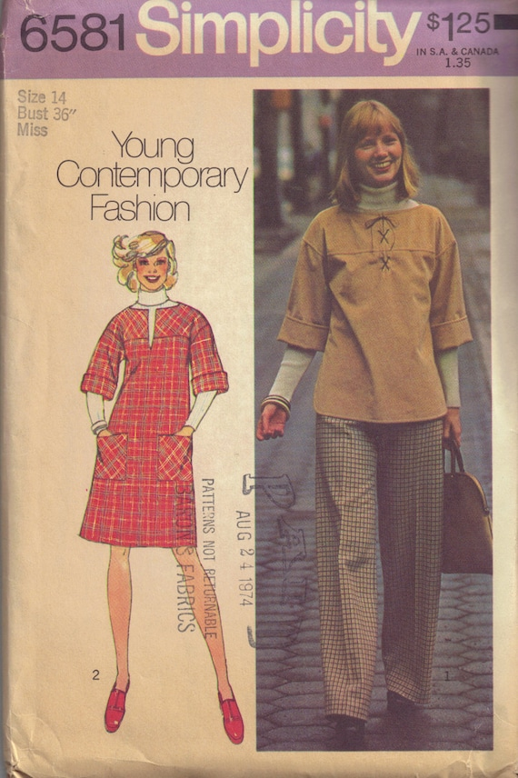 Vintage Hippie 1970s Lace Up Tunic Top, Dress, Pants  Sewing Pattern Size 14 Bust 36""