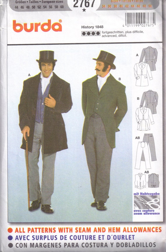 Mens Victorian Steampunk  Dickens Coat Pants Vest Sewing Pattern Burda 2767 Size 34, 36, 38, 40, 42, 44, 46, 48, 50