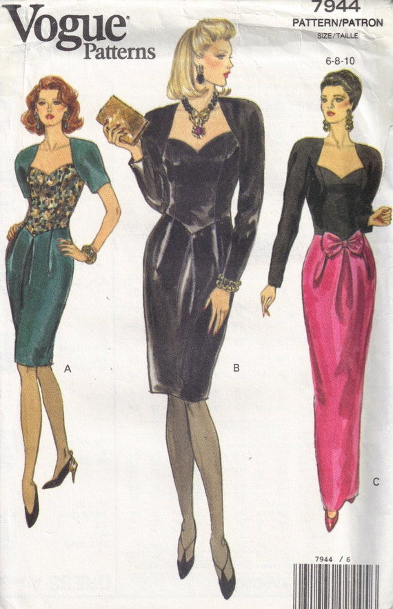 Fitted Bodice, Dropped Waistline Sweetheart neckline Party Dress Vogue 7944 Size 6, 8, 10 Sewing pattern