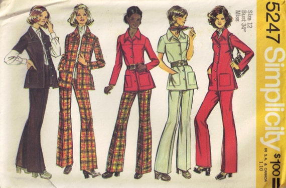 Vintage 1970s Shirt Jacket and Pants Sewing Pattern Simplicity 5247 Size 12 Bust 34