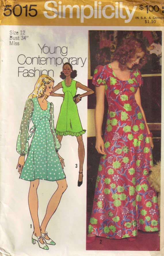 Vintage 1970s Simplicity 5015 Empire Waist Maxi Dress Sewing Pattern Misses Size 12 Bust 34