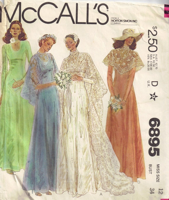 Vintage 1970s McCalls 6895  Wedding, Evening or bridesmaid dress, Lace Cape Sewing Pattern Size 12 Bust 34
