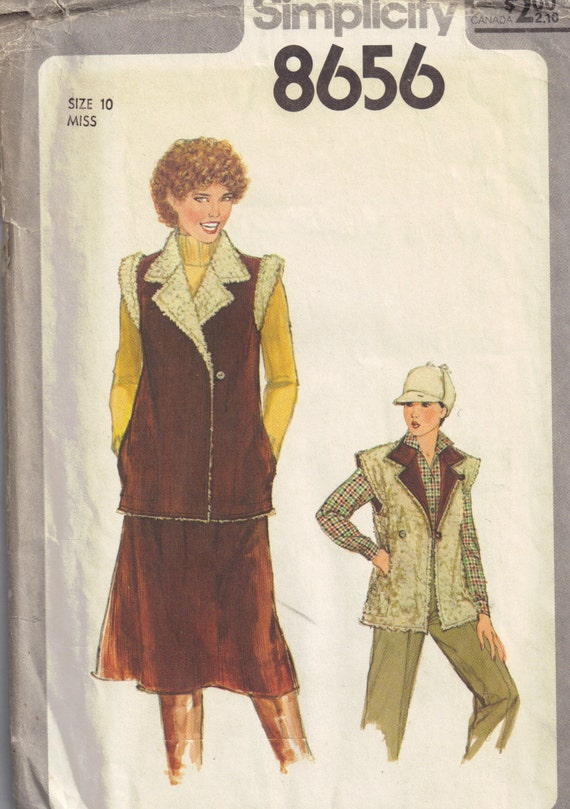 Skirt and Shearing Collared Vest Sleeveless Jacket 1970s Vintage Simplicity 8656 Misses Womans Sewing Pattern Size 10 Bust 32.5 inch