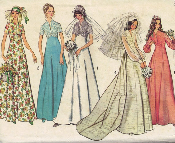 Vintage 1970s Simplicity 6160  Wedding, Evening or bridesmaid dress Sewing Pattern Size 8 Bust 31.5