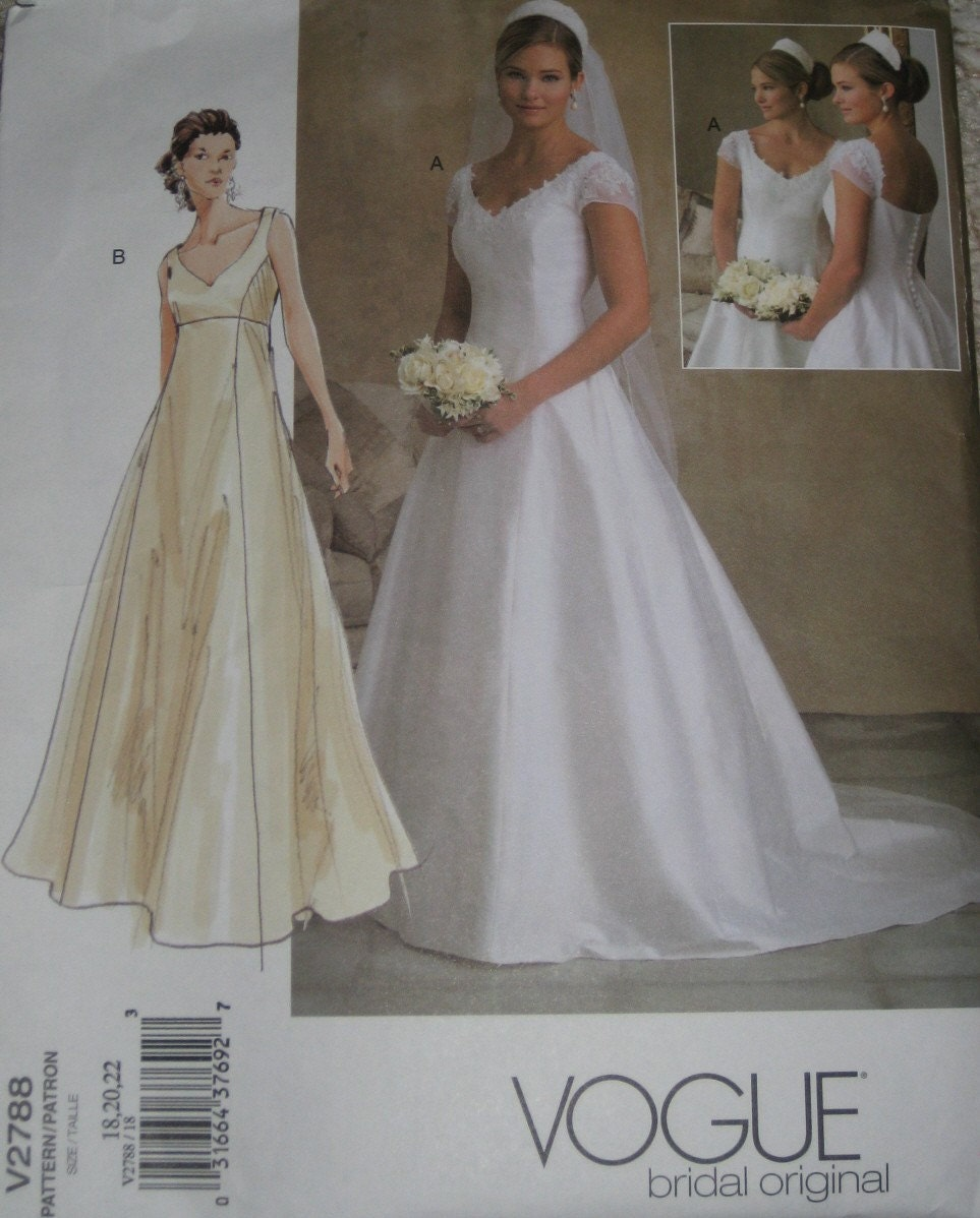 vogue 2788 wedding dress sewing pattern full figure plus size