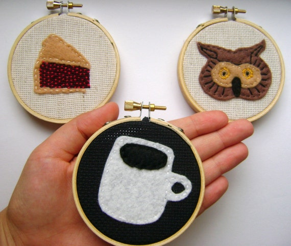 Owl, Coffee and Cherry Pie Needlecraft Trio