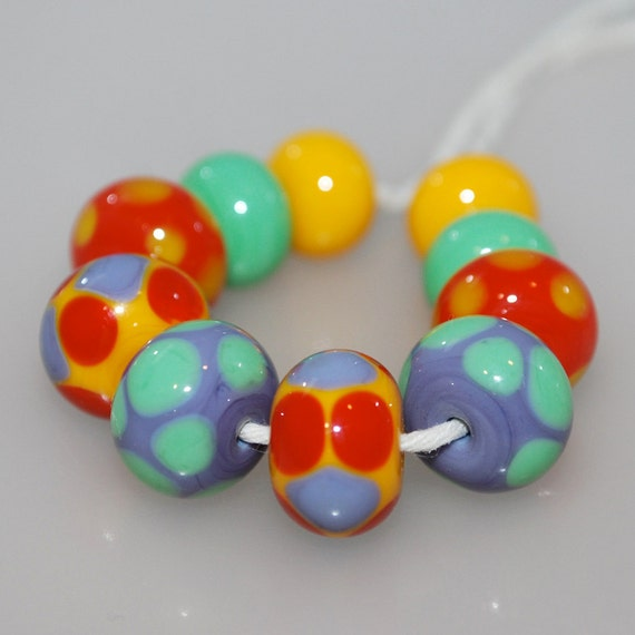 Bright Spotties and Spacers Lampwork Glass Beads Pairs