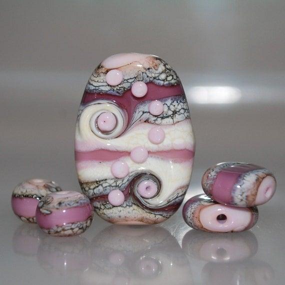 Organic Pink and Purple Focal Set Lampwork Glass Beads