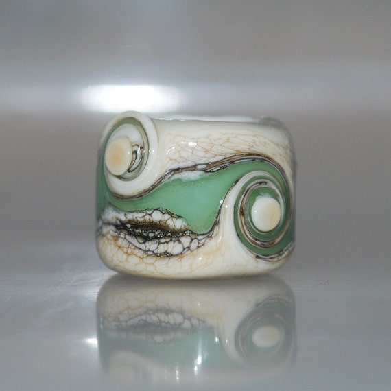 Dreadlock Glass Bead Seafoam Beach Organic v2