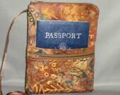 Sling Bag - Passport Purse - Wallet on a String - Small Mini Purse - Aztec Art - Bronze, Maroon, Eggplant, Teal Blue