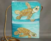 Sling Bag - Passport Purse - Small Mini Purse - Wallet on a String - Sea Turtle