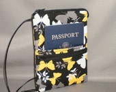 Sling Bag - Small Mini Purse - Passport Purse - Wallet on a String - Butterfly - Yellow, Black, Gray, White