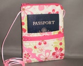 Passport Purse - Wallet on a String - Sling Bag - Daisy - Pink - Lime Green - Retro