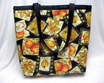 Large Purse - Reversible Tote Bag - Market Shopping Bag - Cotton - Autumn Print and Classic Black and White - 2 Distinct Looks