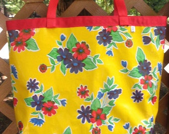 Oilcloth Tote Bag - Beach Bag - Grocery Bag - Yellow Floral Print Reversible to Red White Polka Dots