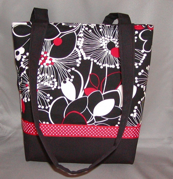 Fabric Tote Bag - Medium Sized Purse - Robert Kaufman NIGHT AND  DAY  -  Elegant Black Red and White Print