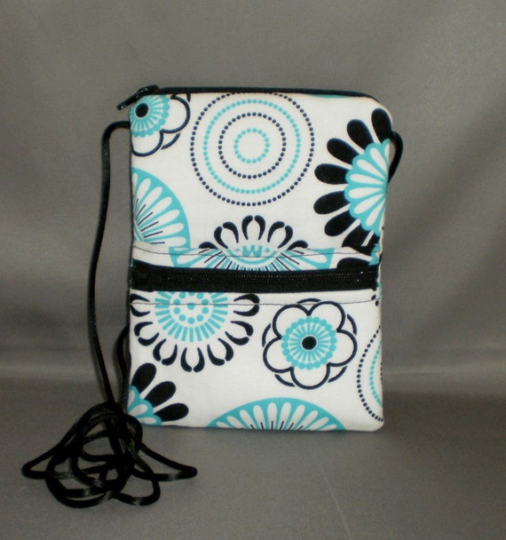 Travel Purse - Sling Bag - Passport Purse Wallet - Small Mini Purse - Wallet on a String - Retro SPIROGRAPH - Turquoise, Black and White