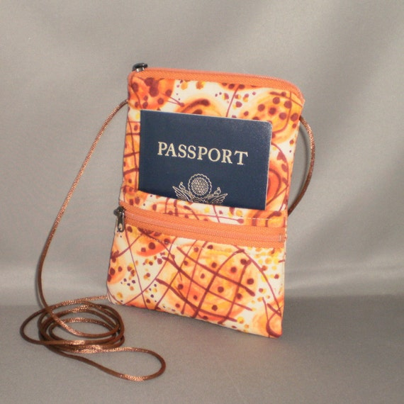 Sling Bag - Passport Purse - Travel Purse - Wallet on a String - Retro 60s - Orange - Atomic Tangerine